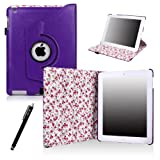 E-LV 360 Degrees Rotating Stand PU Leather Smart Case Cover for Apple iPad 4 with Retina Display, iPad 3, iPad 2 (With Wake/Sleep Function) with 1 Stylus, 1 Screen Protector and Microfiber Sticker Digital Cleaner (iPad 4 / 3 / 2, Purple)
