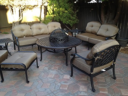 1 t8web cheap price heritage outdoor living nassau cast aluminum 8pc outdoor patio club chair set with 52 round ice chest table antique bronze search shop time deals