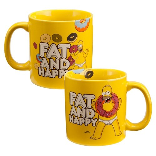 "The Simpsons ""Fat and Happy"" 20 oz Ceramic Mug"