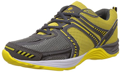 Tigon Men's Dark Grey and Yellow Running Shoes - 8 UK/India (42 EU)