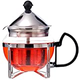 GROSCHE Preston Personal Glass Teapot 600 ml / 20.3 fl oz With All Stainless Steel Drop Down Tea Infuser System
