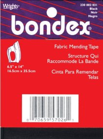 "Iron-On Mending Fabric 6-1/2""X14""-Black"