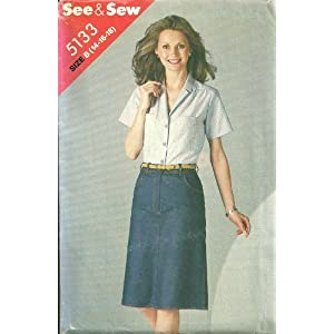 Misses Blouse & Skirt Butterick See & Sew Sewing Pattern 5133 (Size B: 14-16-18)