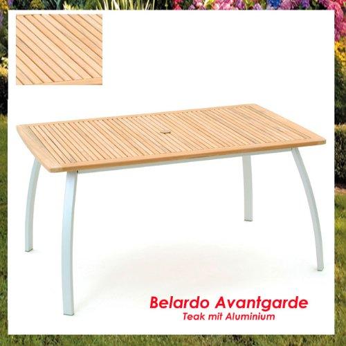 Gartentisch Teak Aluminium 150x90 Belardo Avangarde Gartenmöbel Teak