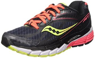 Saucony Women's Ride 8 Running Shoe, Mid/Coral/Citron, 9 M US
