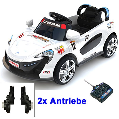 #Roadster mit 2x Motoren mp3 LED Elektro Kinderauto Kinder Auto Elektroauto Elektrofahrzeug (weiss)#