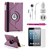 Gearonic TM iPad Mini and iPad Mini with Retina Display 5-in-1 Accessories Bundle Rotating Case for Business and Travel, Purple