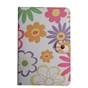 Yellow Green Pink Colorful Flower Design Fabric Leather Padfolio Pouch Cover Case with Interior Compartment for Amazon Kindle 3 Kindle3 Wifi /3g Latest Version Ebook Reader