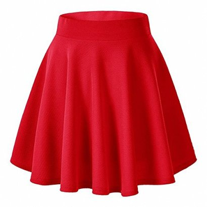 AFIBI-Girls-Casual-Mini-Stretch-Waist-Flared-Plain-Pleated-Skater-Dress-Red