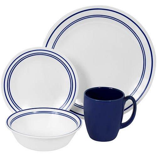 Corelle Livingware 16-Piece Dinnerware Set, Service for 4, Classic Cafe Blue