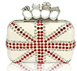 Womens Ivory Faux Leather Union Jack Skulls Knuckles Rings Clutch Evening Bag KCMODE