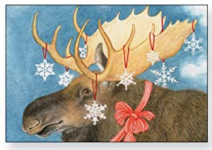 Snowflake Moose Christmas Cards Home Amp Kitchen