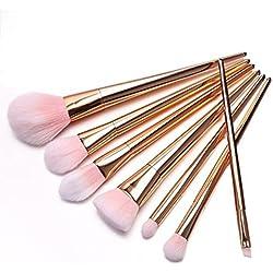Fortan 7Pcs Set Berufsbürstensatz Augen und Wangen Make-up Pinsel-Rose Gold