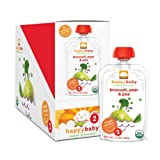 Happy Baby Organic Baby Food 2 Simple Combos, Broccoli, Pears & Peas, 4 Ounce (Pack of 16)