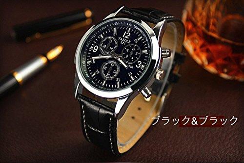 【ACI-AAE】選べる 4 種類 メンズ クロノグラフ 腕 時計 高級 レザー おしゃれ スーツ ベルト ビジネス 軽量 革 ウォッチ シンプル    【 BOX & 時計拭き 付 】 (ブルー&ブラック) 515tk 2Bul0CL