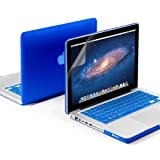 GMYLE(R) 3 in 1 Blue Matte Rubber Coated See-Thru Hard Case Cover for Aluminum Unibody 13.3