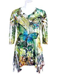 eb0eeefb3a Cheap Jess N Jane  Butterfly Forest  Lightweight Tunic with Rhinestone  Bling Accents