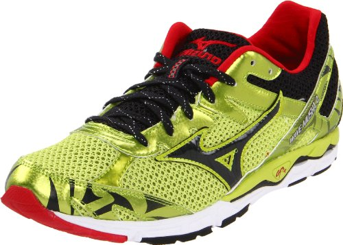 Mizuno Men's Wave Musha 4 Running Shoe,Lime Punch/Anthracite/Chinese Red,11.5 D US