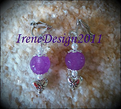 Facetted Amethyst & Heart Clip-On Earrings.