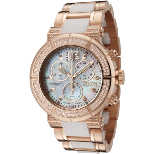 Invicta Women's 0186 Reserve Collection Chronograph Diamond Accented 18k Rose Gold-Plated Watch