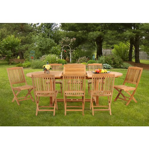 caluco teak oval patio dining set with folding chairs seats 8 cheapest discharge from amazon1