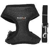 Rugeme Soft Mesh Non Pulling Puppy Harness with Leash Set (Halloween Sale) (Medium Black)