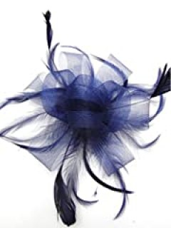 Navy Blue Looped Bow and Feathers Bridal Hair Comb Slide Fascinator