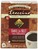 Teeccino Herbal Coffee, Vanilla Nut, Caffeine-Free,10-Count Tea Bags (Pack of 6)