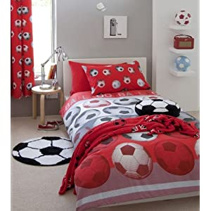 Red Soccer Bedding Set
