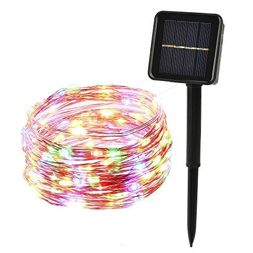ieGeek LEDイルミネーションライト ソーラー充電式 光センサー内蔵 発光モードは8パターン 屋外用 防水IP64 フェアリーライト ガーデンライト高輝度 高品質クリスマスやイベントに最適! (100球, カラー)
