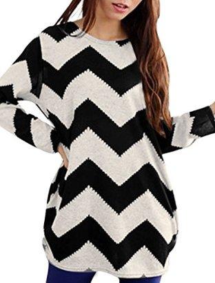 Allegra-K-Women-Round-Neck-Contrast-Zig-Zag-Pattern-Knitted-Shirt-Black-White-L
