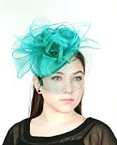 NYfashion101(TM) Cocktail Fashion Sinamay Fascinator Hat Flower Design & Net S102651-Turquoise