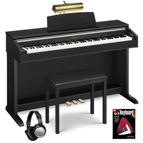 Casio AP-220 Black Digital Piano BUNDLE w/ Matching Bench & Brass Lamp
