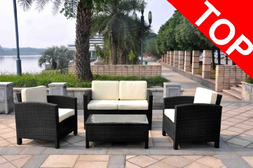 Kunstfaser Sitzgruppe Sunny schwarz Polyrattan Rattan 2 Sessel + 2er-Bank + Tisch Gartenmöbel Kunstgeflecht NEU Wintergarten Loungemöbel