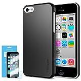[Non-Slip] Spigen iPhone 5C Case Slim [Ultra Fit] [Smooth Black] Premium SF Coated Matte Hard Case for iPhone 5C - ECO-Friendly Packaging - Smooth Black (SGP10345)