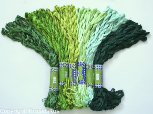 60 Skeins of Silky Hand Cross Stitch Floss Threads - GREEN TONES
