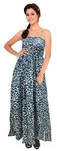 La-Leela-Animal-Skin-Design-Partywear-Long-Tube-Dress-Nevy-Blue