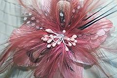 Pale Pink Feather Flower Hat Clip/ Brooch Fascinator