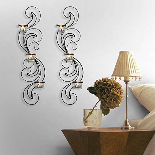 Adeco Decorative Iron Vertical Candle Tealight Pillar ... on Large Wall Sconces Candle Holders Decorative id=50223
