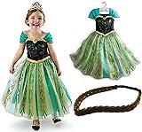 アナと雪の女王 コスプレ衣装 アナ 子供用 ドレス 110cm 三つ編みバンド付き