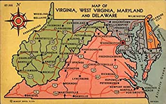 Map of Virginia, West Virginia, Maryland and Delaware Maps ...
