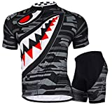 Nuckily Men's Cycling Cycle Sports Outdoor Bicycle Jersey Shorts Sleeve 3D Cushion Padded Set Polyester and Lycra