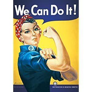 Rosie the Riveter-We Can Do It, Political Poster Print, 24 by 36-Inch