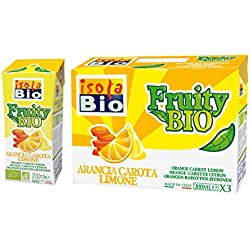 Isola Bio Fruttini Zumo de Naranja, Zanahoria y Limon - Paquete de 8 x 600 ml - Total: 4800 ml