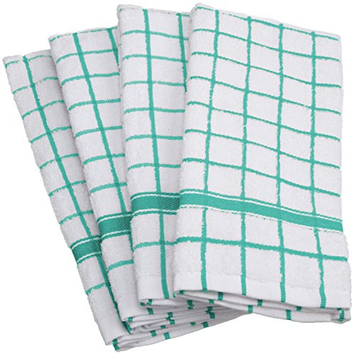 DII 100% Cotton, Machine Washable, Basic Everyday, Terry, Kitchen Dishtowel, Ultra Absorbant, Windowpane Design, 16 x 26