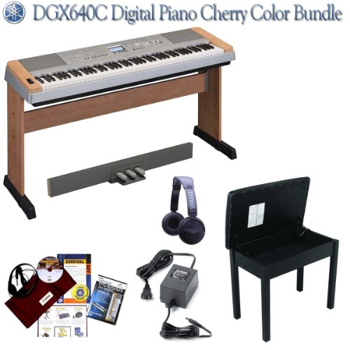 Yamaha DGX640C Digital Piano Bundle with Yamaha Survival Kit - Cherry