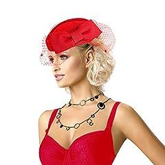 Lady Womens Dress Fascinator Wool Felt Pillbox Hat Party Wedding Bow Veil A082 (Red)