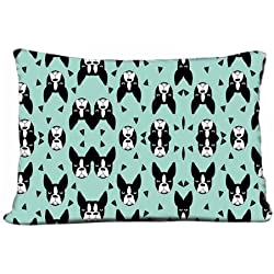 "Sofa Car Pillows Case Boston Terrier Mint Boston Terriers Cute Dog Best Dog Fabric Pillow Case (20"" X 30"")"