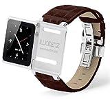 iWatchz STLDBRDYTP Timepiece Stainless Leather Watch Strap for iPod nano 6th Gen with Deploy-Dark Brown