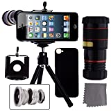 CamKix® 4 in 1 iPhone 5 Camera Lens Kit Includes / 8x Black Telephoto Manual Focus Telescopic Camera Lens with Tripod / 3 Quick-Connect Lens Solution (Fisheye Lens, Macro Lens, Wide-angle Lens) / 1 Universal Holder / 1 Mini Tripod / 1 iPhone 5 Protection Case / 1 CamKix® Microfiber Cleaning Cloth included